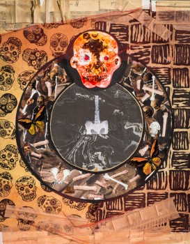 Tibetan thangka, collage and ink, bones and skulls