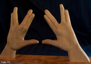 Backside of kohen hands, woodcarving, basswood
