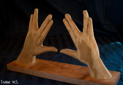 Kohen hands woodcarving , three dimensional, basswood