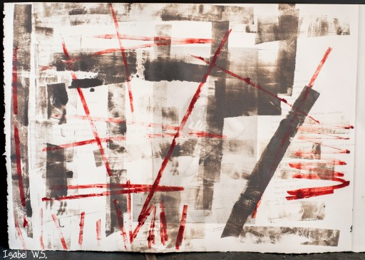 A monotype print, black and red ink, with a hidden photograph