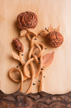 Celtic Rose relief woodcarving