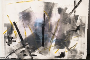 A monotype print, black and yellow, with a hidden photograph