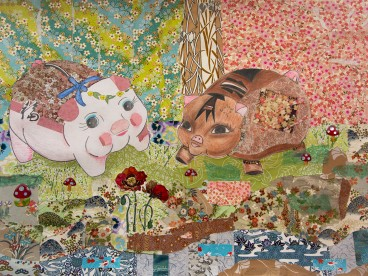 collaged, flowey landscape, two piggie banks