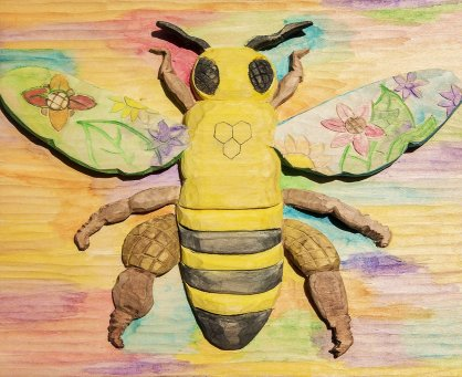 bee relief woodcarving, rainbow, watercolors