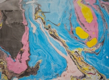 pink, blue, yellow and black suminagashi print