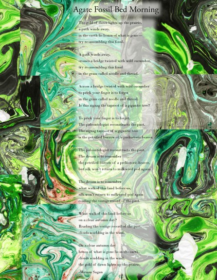 a green suminagashi collage with poetry by Miriam Sagan