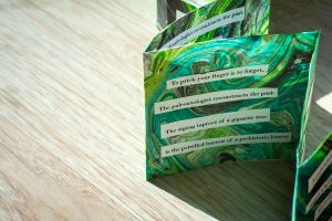 small green accordian book with poem