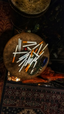 Cigarette altar at the Vodoo Musuem in New Orleans