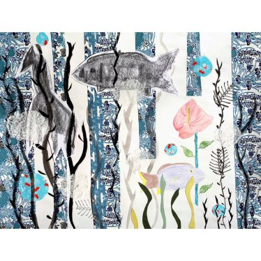 a collage utilizing blues, underwater themes, mass drawings of fish and a giraffe