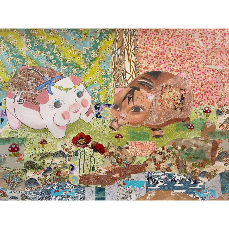 Brightly colored paper collage with two piggy banks