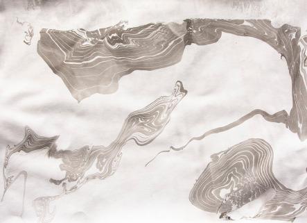 black and white suminagashi print