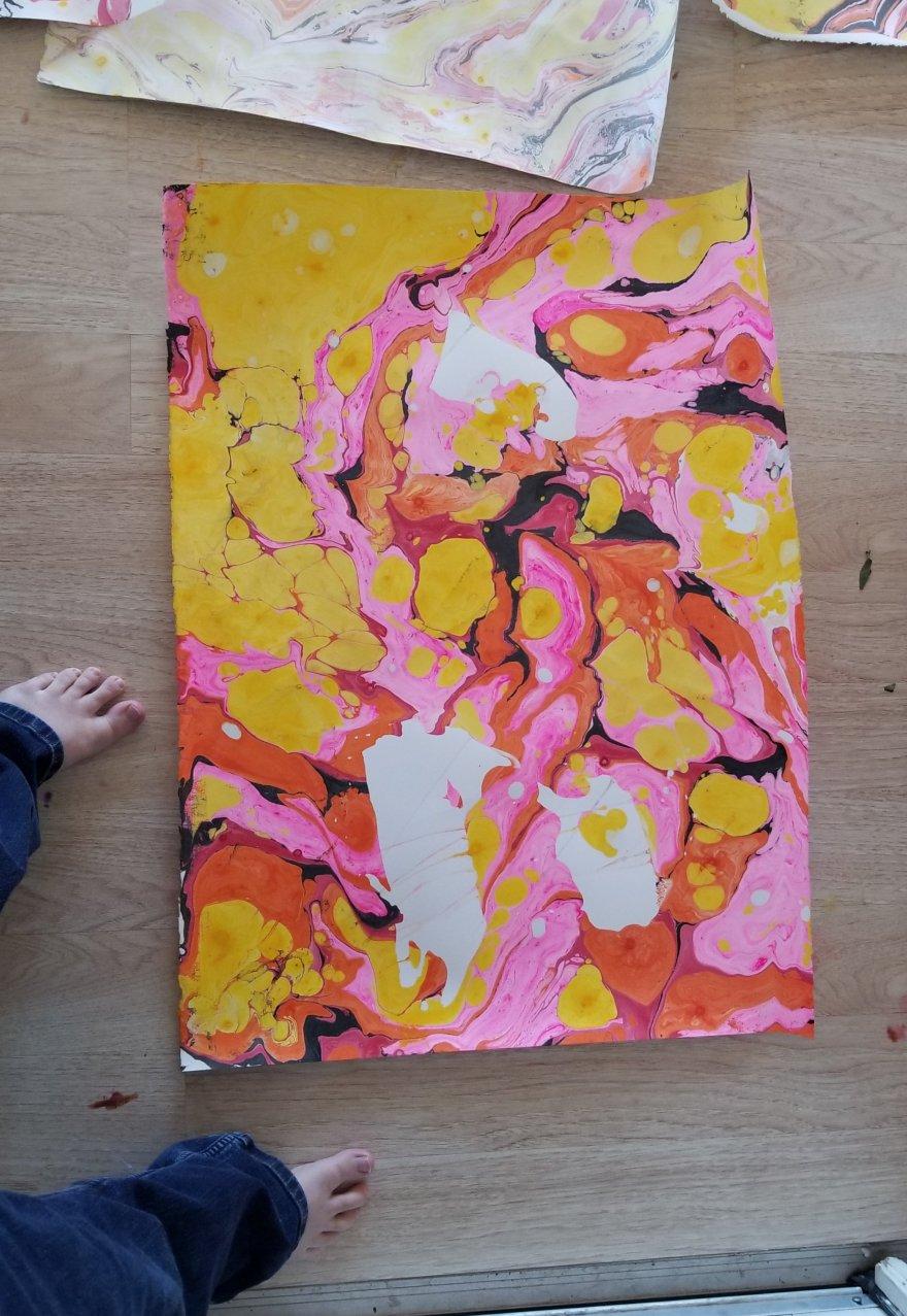 Pink and orange vibrant suminagashi print