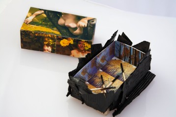 """""""Forest Fire,"""" assemblage in a matchbox, 2020"""