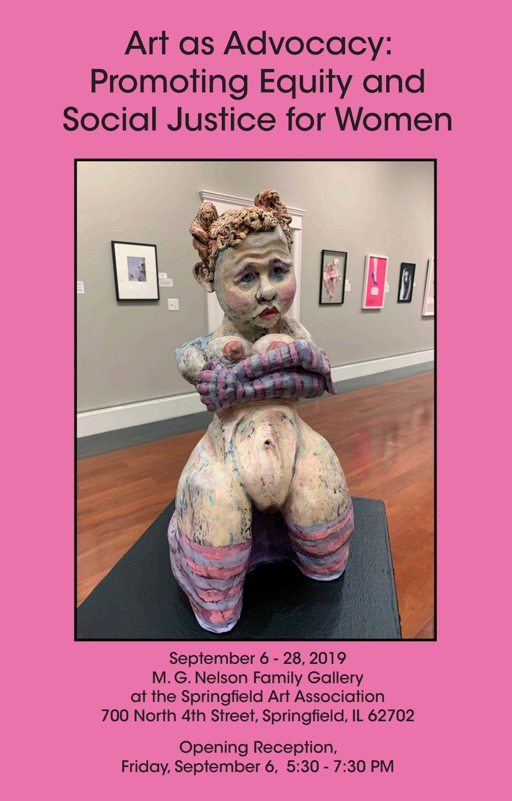 A flyer with a pink background, showing a sculpture of a woman, made out of clay, very emotive, with large thighs and her breasts pushed up under her arms. The show is